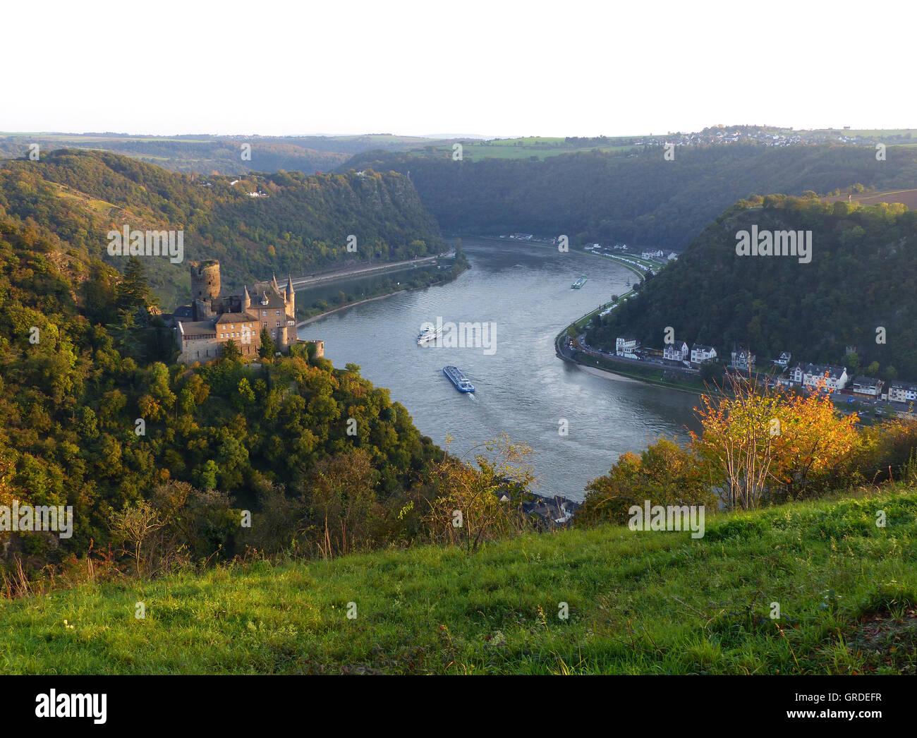 Burg Katz In St. Goar And Loreley Am Rhein, Rhineland-Palatinate, Germany, Europe Stock Photo