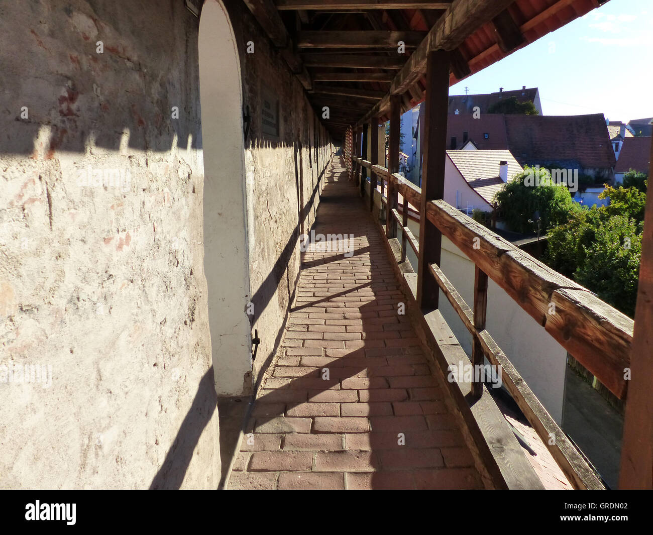 The City Wall In Noerdlingen Leads Around The Old City, Bavaria, Germany - Stock Image