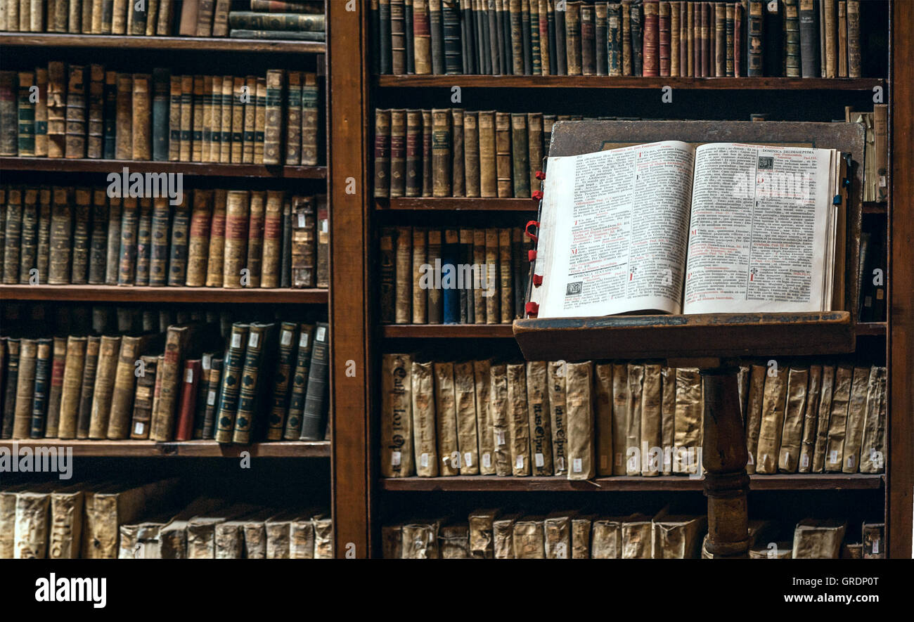 Books are subject to restoration after the tsunami in the Ricoleta Library, Arequipa, Peru - Stock Image