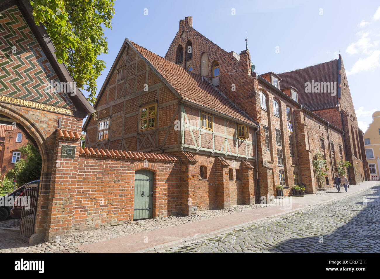 Medieval Half-Timbered House In The Center Of Wismar Mecklenburg-Vorpommern - Stock Image