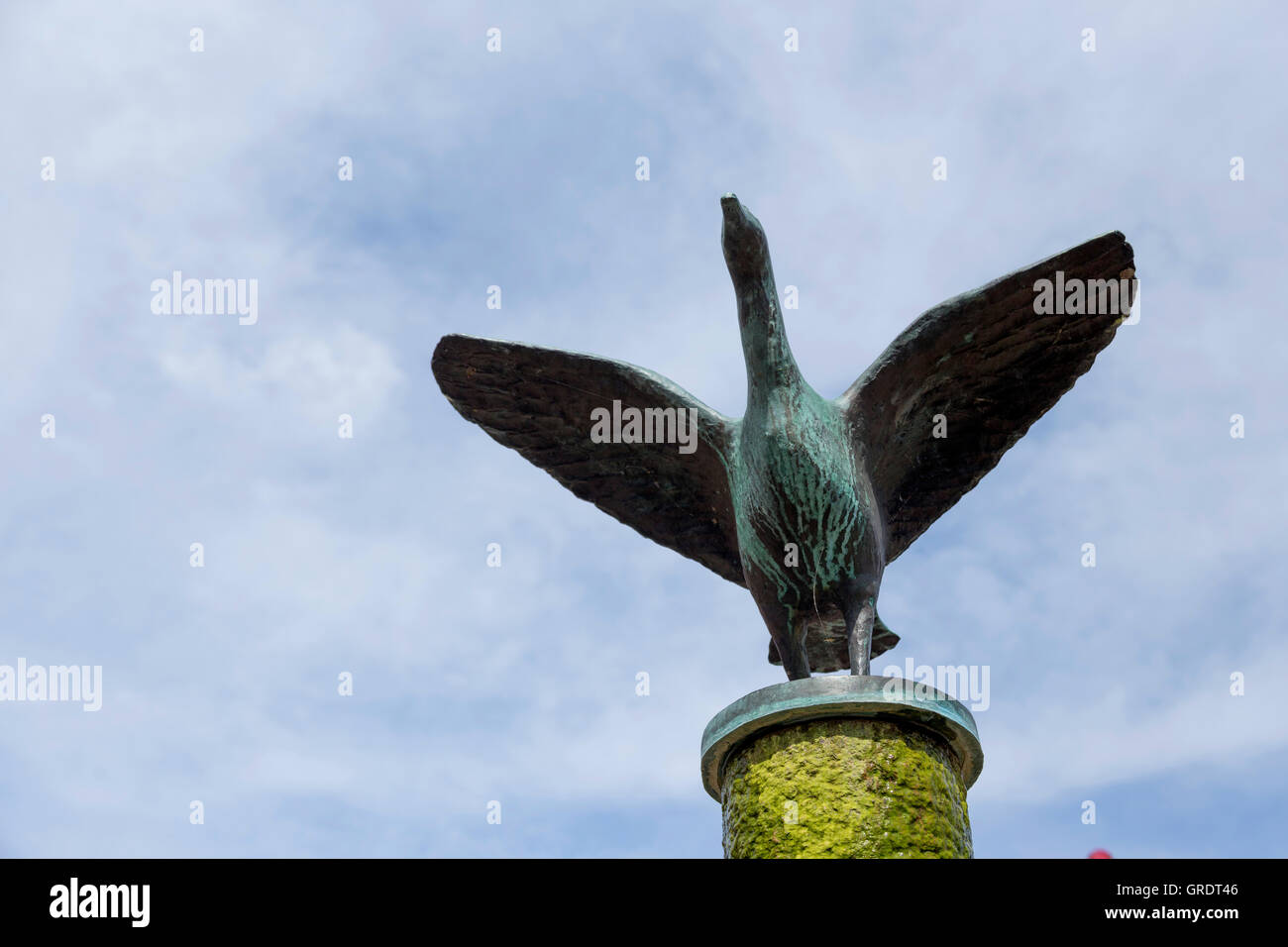 Steel Goose On Top Of A Fountain Stock Photo