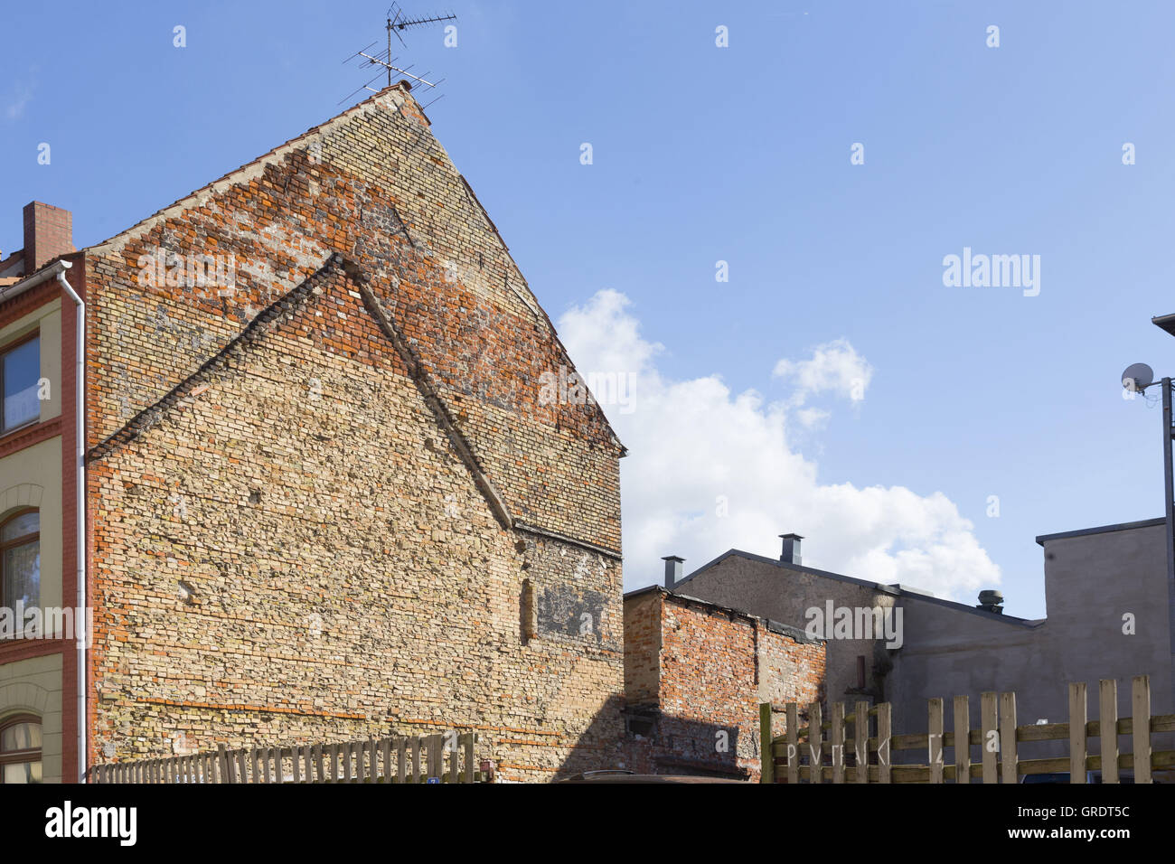 Fire Wall Of An Old House In Wismar Mecklenburg-Vorpommern - Stock Image