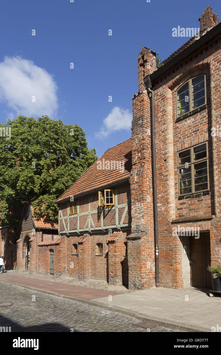 Medieval Half-Timbered House In The Center Of Wismar Mecklenburg-Vorpommern Stock Photo