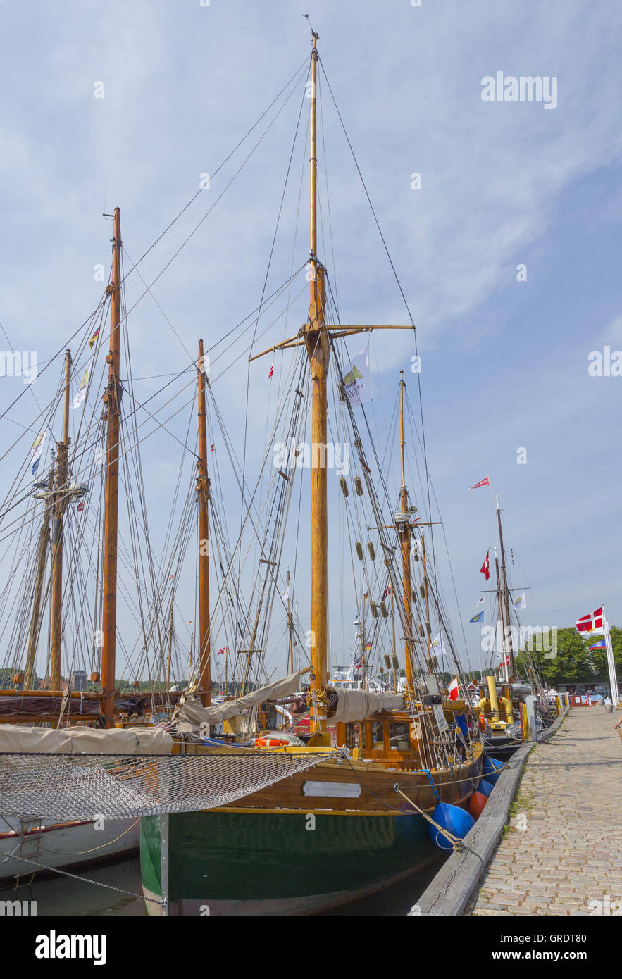 Historic Sailing Ships In The Port Of Nystedt Lolland Denmark - Stock Image