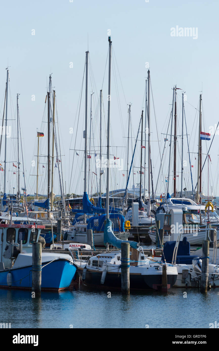 Sailboats With Tall Masts In The Harbor Of Gedser Denmark - Stock Image