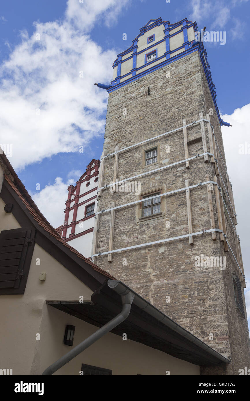 Castle Tower With Blue Ornaments And Props In Bernburg Saxony-Anhalt - Stock Image