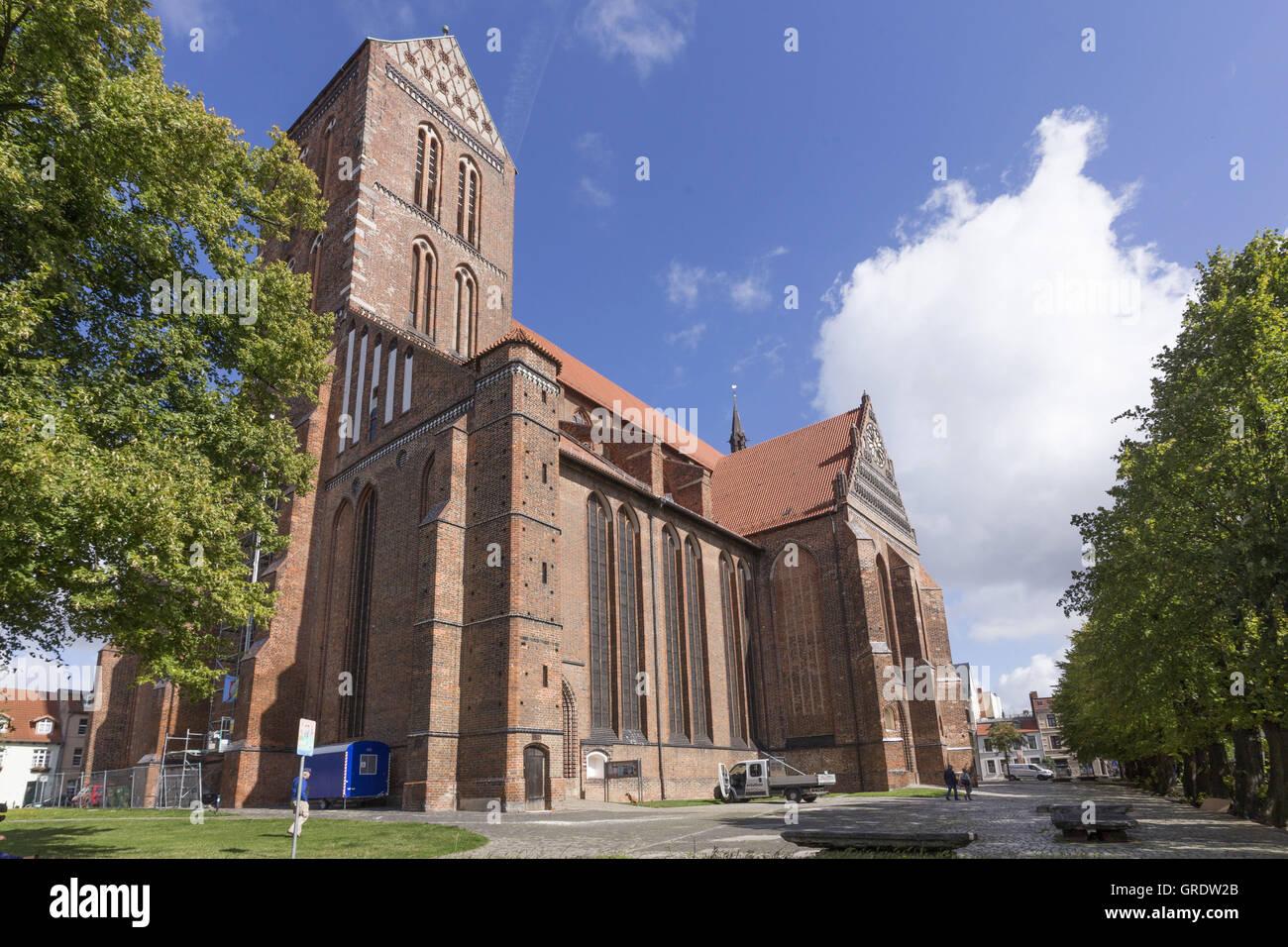 St. Nikolai Church In Downtown Wismar Mecklenburg-Vorpommern - Stock Image