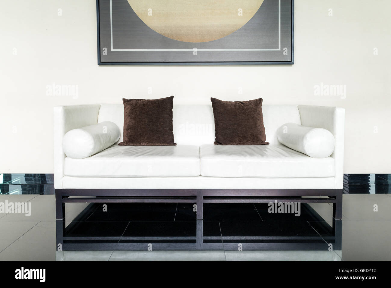 Groovy White Leather Sofa And Brown Pillow In Lounge At Living Room Ibusinesslaw Wood Chair Design Ideas Ibusinesslaworg