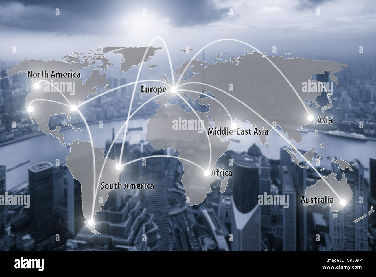 Virtual interface connection map of global partner connection use for logistic,import,export background.(Elements - Stock Image
