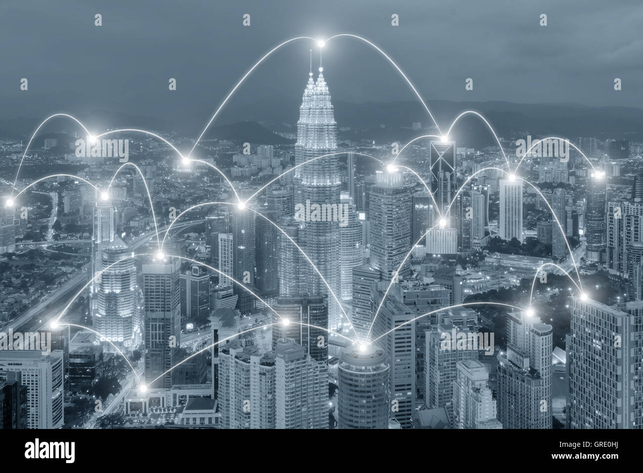 Network business connection concept - Network business connection system on cityscape background - Stock Image