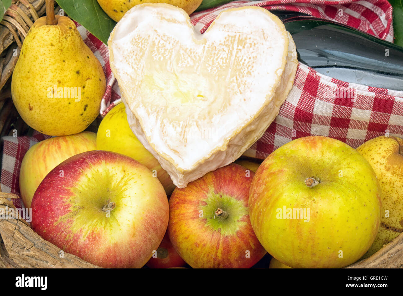 a Neufchatel cheese with Normandy apples - Stock Image