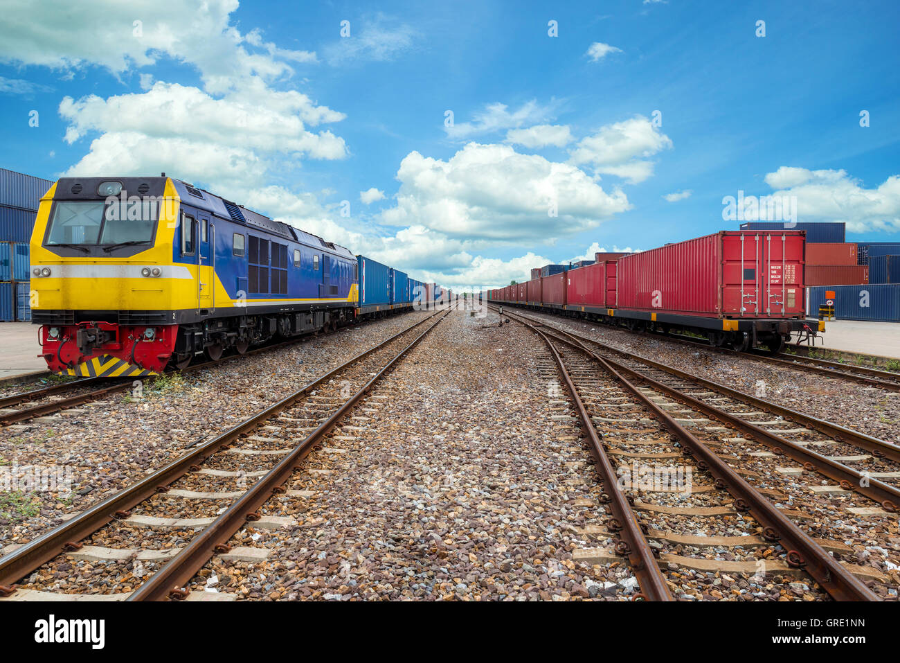 Cargo train platform with freight train container at depot in port use for export logistics background - Stock Image