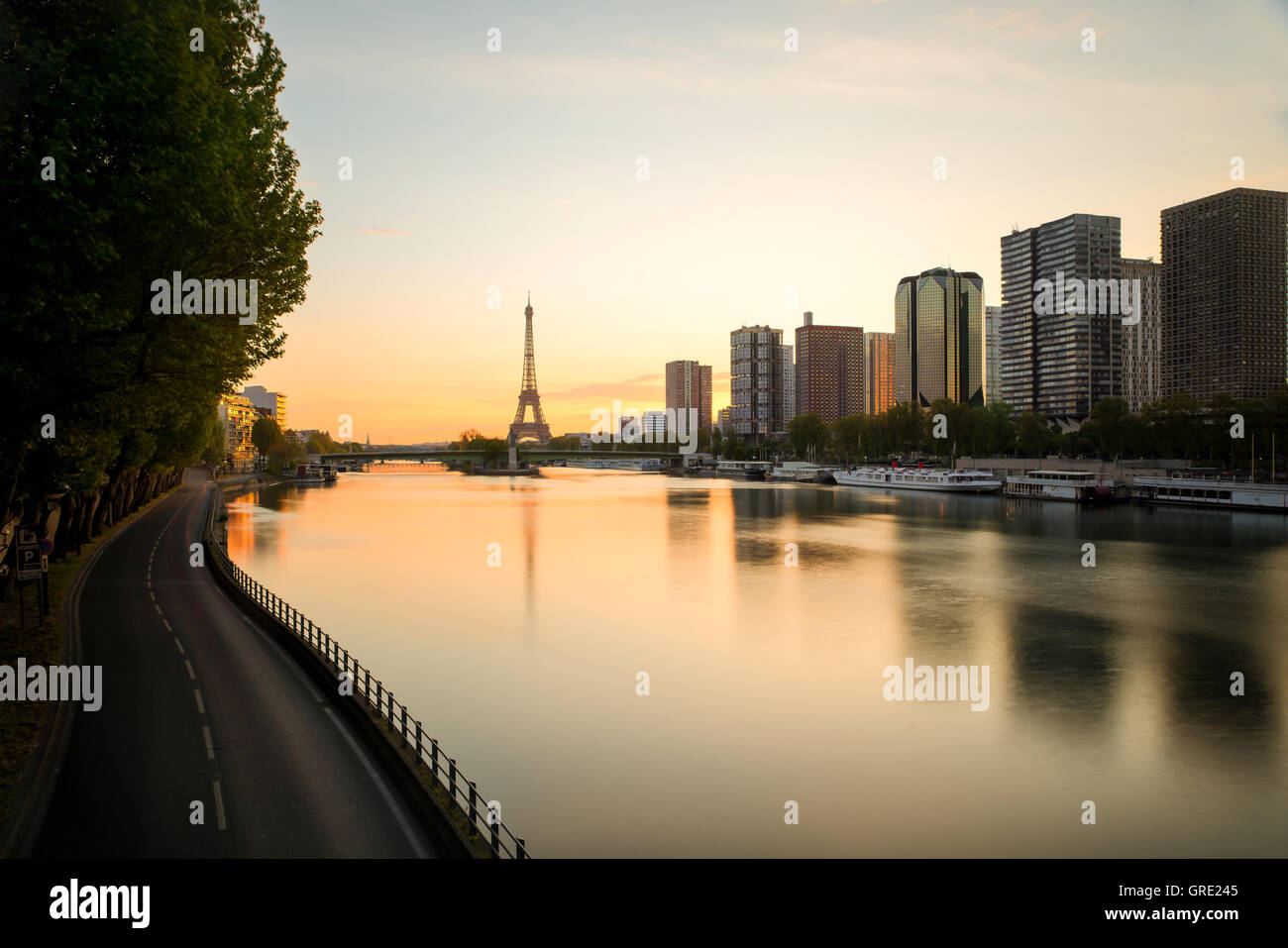 Paris skyline with Eiffel tower and Seine river in Paris, France.Beautiful sunrise in Paris, France. - Stock Image