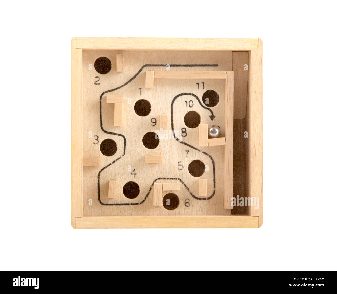 Steel ball in the wooden maze - Stock Image