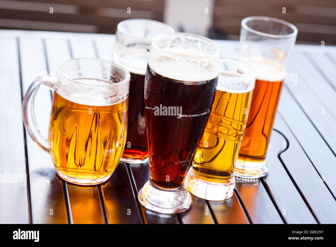cool beer mugs stock photo 117708359 alamy