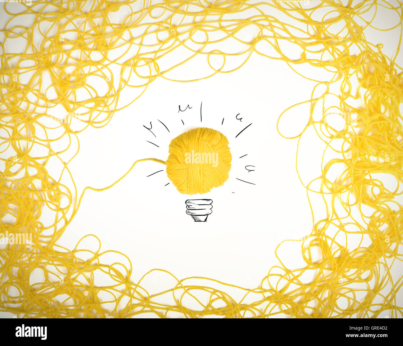 Concept of idea and innovation with wool ball Stock Photo
