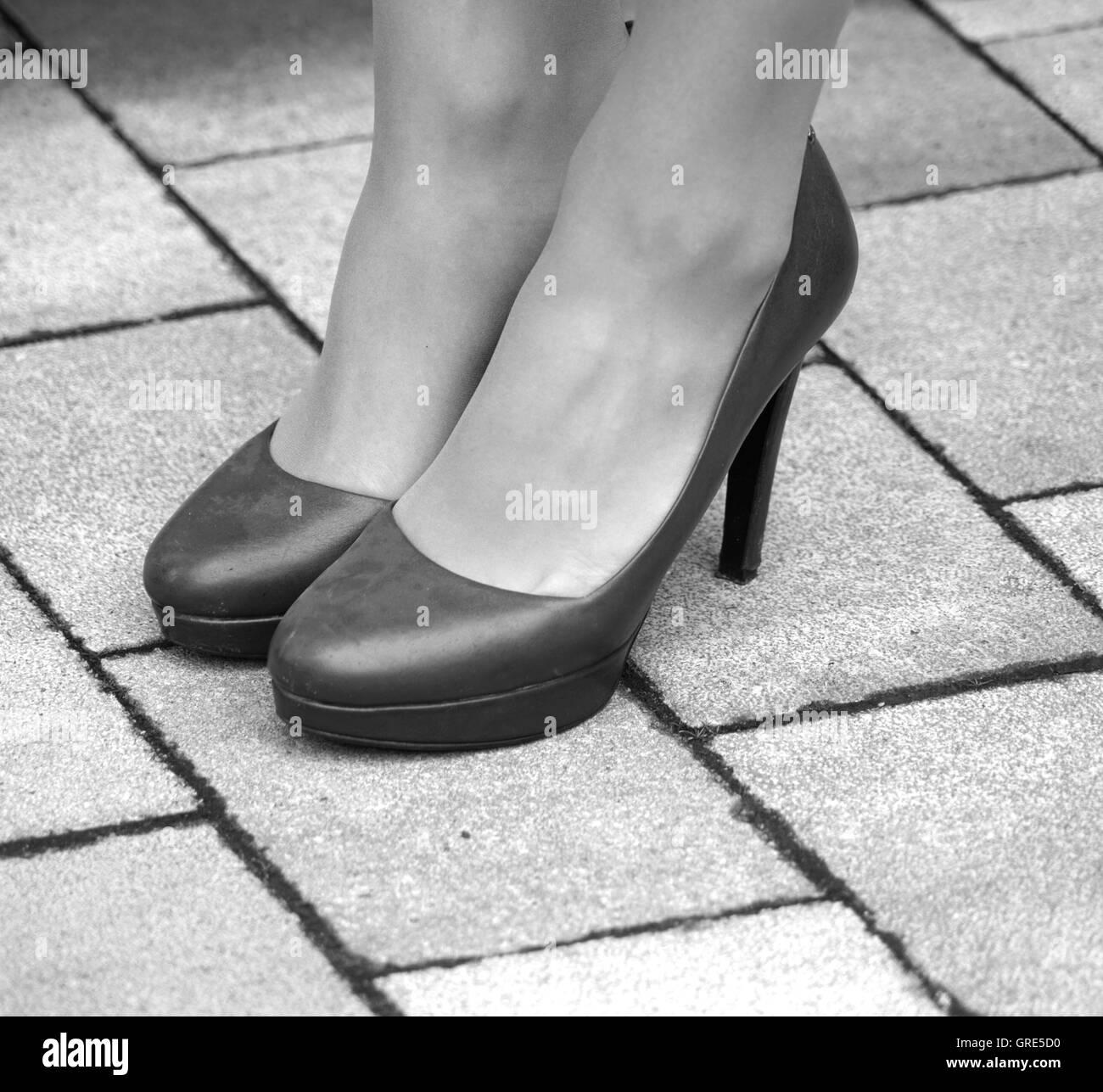 Woman S Legs, Woman S Feet In Heels - Stock Image