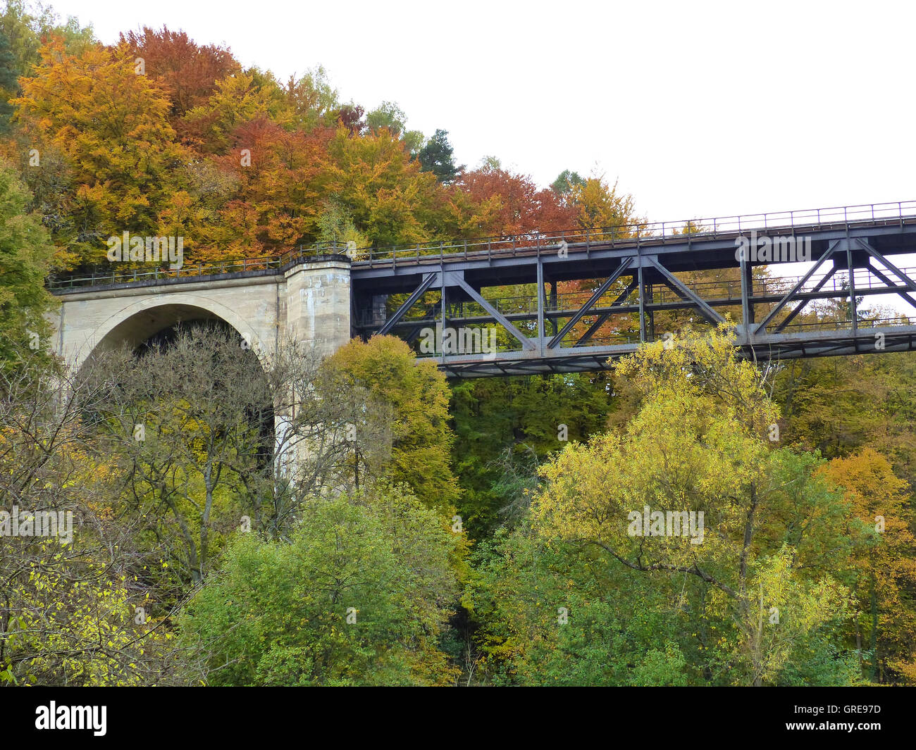 Viaduct In Autumn Forest, Palatinate Stock Photo