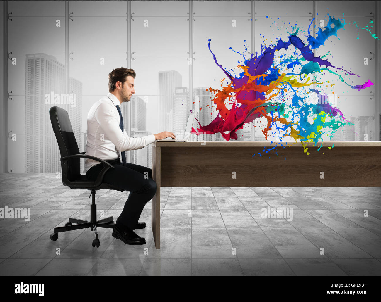 Concept of creative business with businessman working with laptop - Stock Image