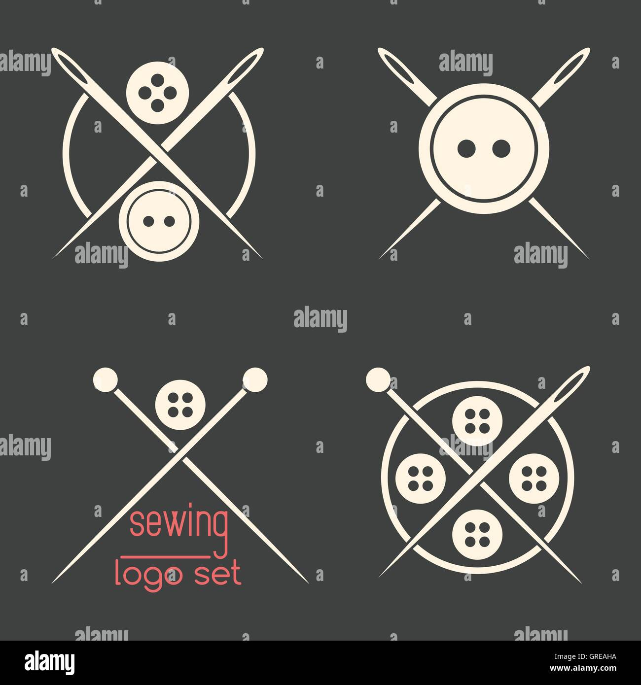 Set of sewing logotypes on dark grey background - Stock Vector
