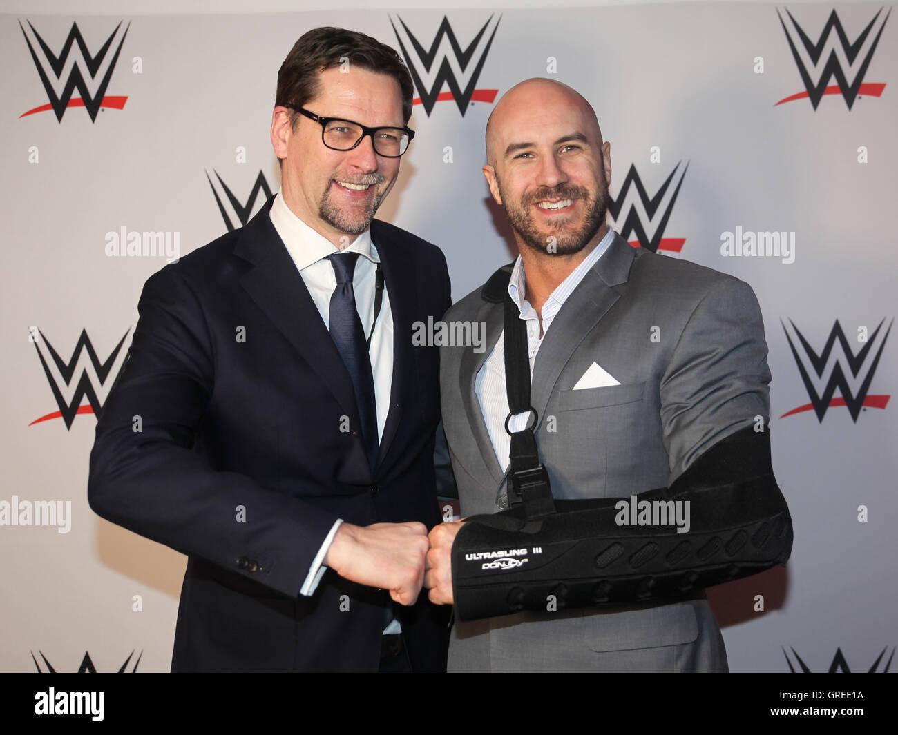 Wwe General Manager Europe Stefan Kastenmüller And Wwe Superstar Cesaro - Stock Image