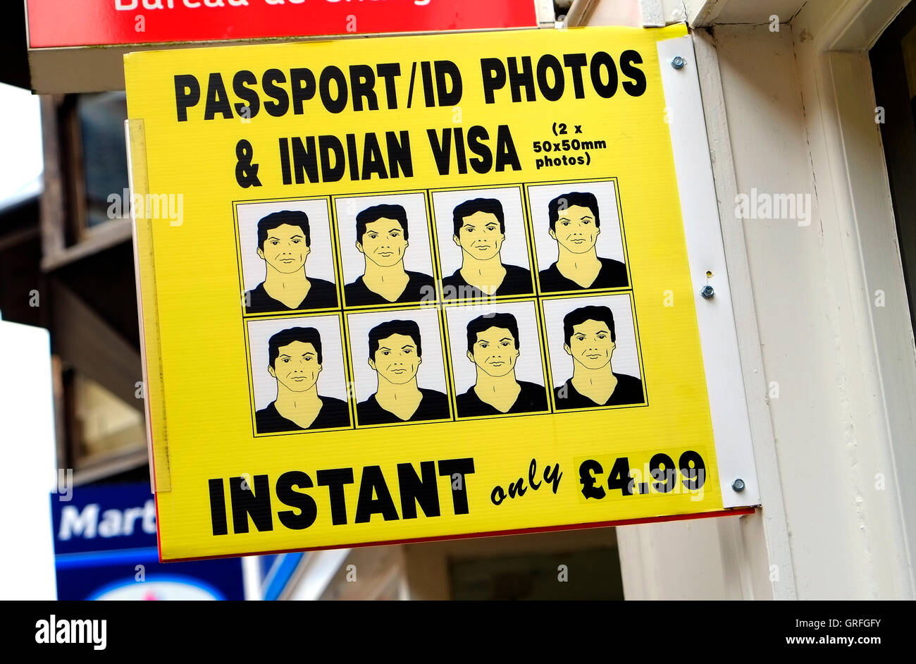 passport id photos & indian visa sign outside shop in norfolk, england - Stock Image