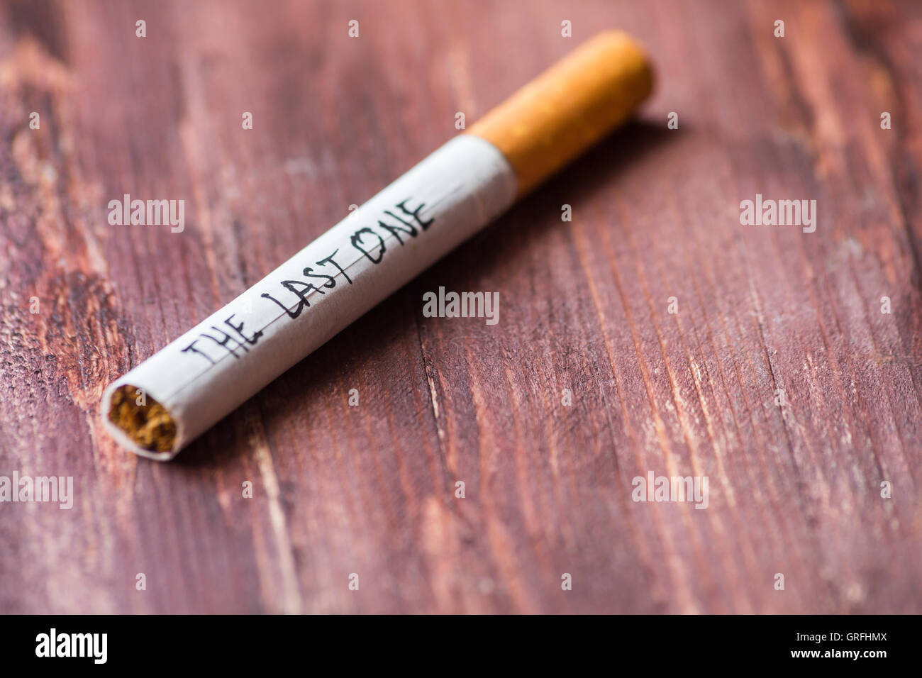 The last cigarette - quit smoking message - Stock Image