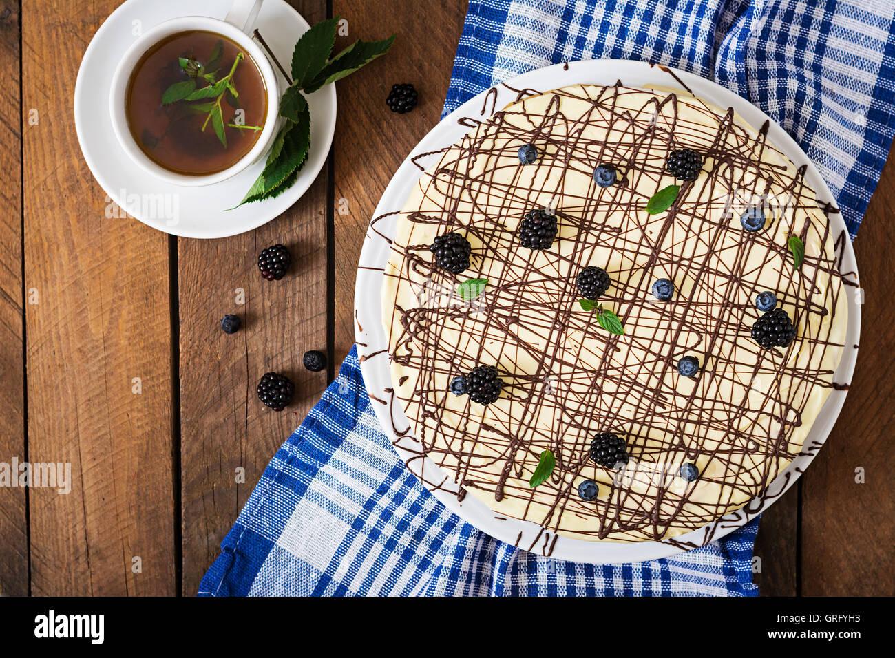 Chocolate Cake 'Bird's milk'. Top view - Stock Image