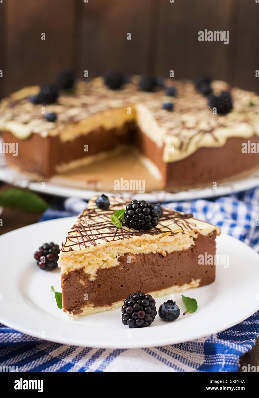Chocolate Cake 'Bird's milk' - Stock Image