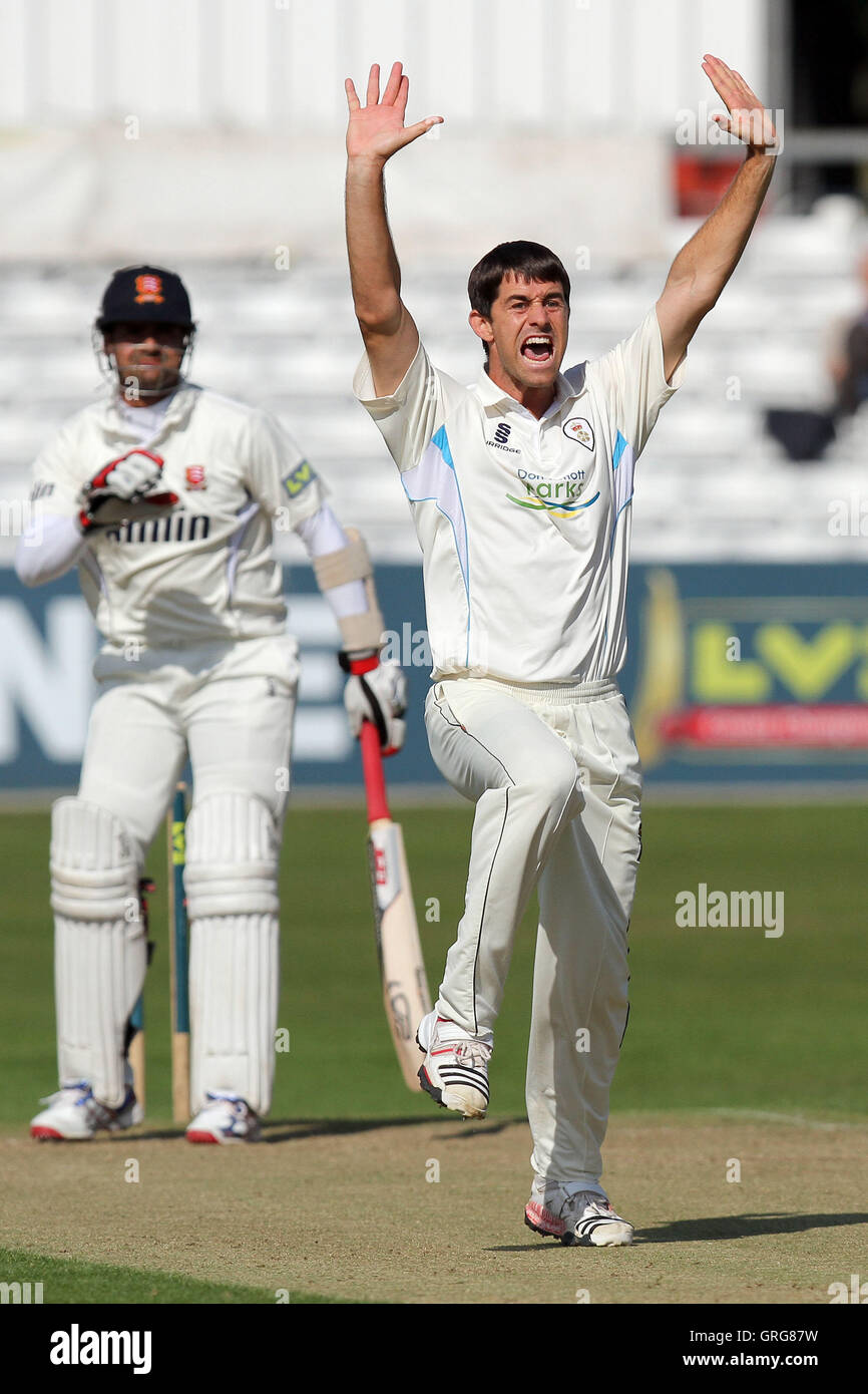 Tim Groenewald of Derbyshire appeals for the wicket of Owais Shah - Essex CCC vs Derbyshire CCC - LV County Championship - Stock Image