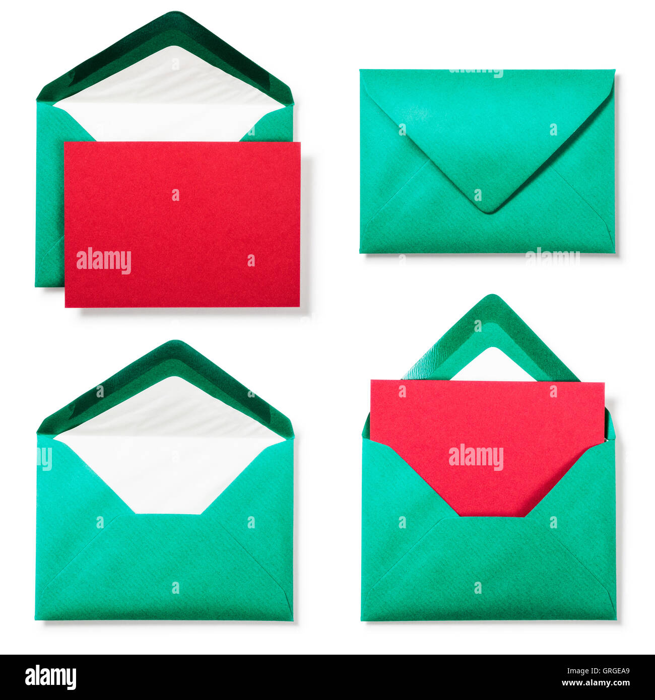 Green Envelope With Red Greeting Card Collection On White Background