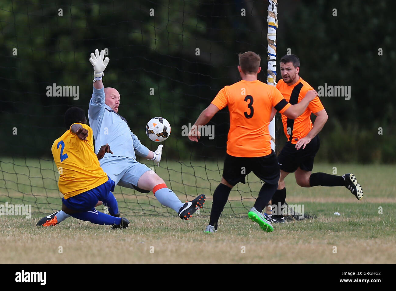 Mile End score their second goal during Mile End (yellow/blue) vs El Valiente, Hackney & Leyton Sunday League - Stock Image