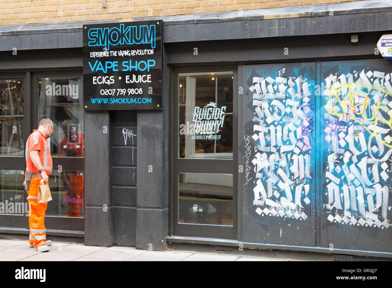Smokium Shoreditch Vape Shop, Cheshire Street, Shoreditch, London in September - experience the vaping revolution - Stock Image