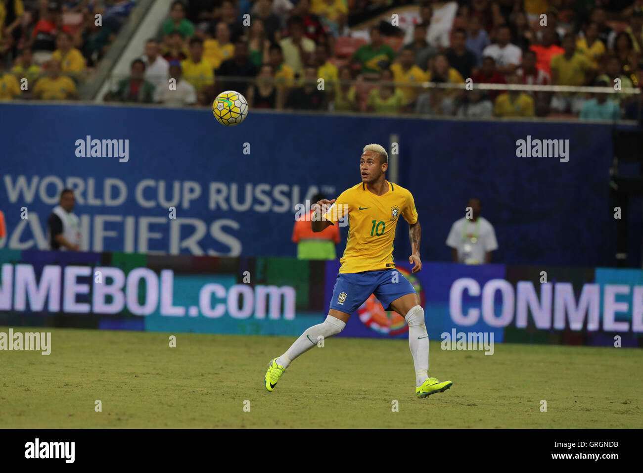 MANAUS, AM - 06.09.2016: BRAZIL VS COLOMBIA - Neymar leads the attack on the ball during the match between Brazil - Stock Image