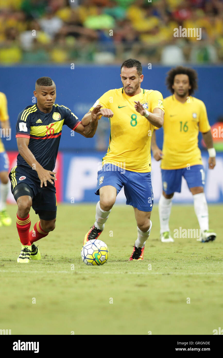 MANAUS, AM - 06.09.2016: BRAZIL VS COLOMBIA - R. Augusto leads to attack on the ball during the match between Brazil - Stock Image