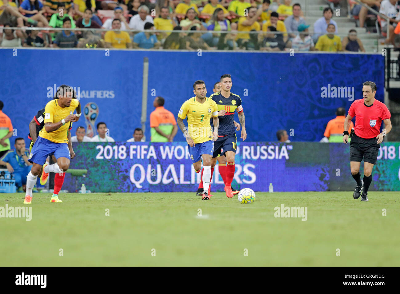 MANAUS, AM - 06.09.2016: BRAZIL VS COLOMBIA - Damiel Alves leads the attack on the ball during the match between - Stock Image