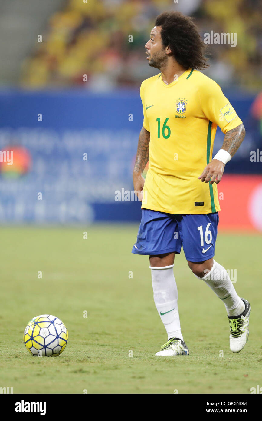 MANAUS, AM - 06.09.2016: BRAZIL VS COLOMBIA - Marcelo leads to attack on the ball during the match between Brazil - Stock Image