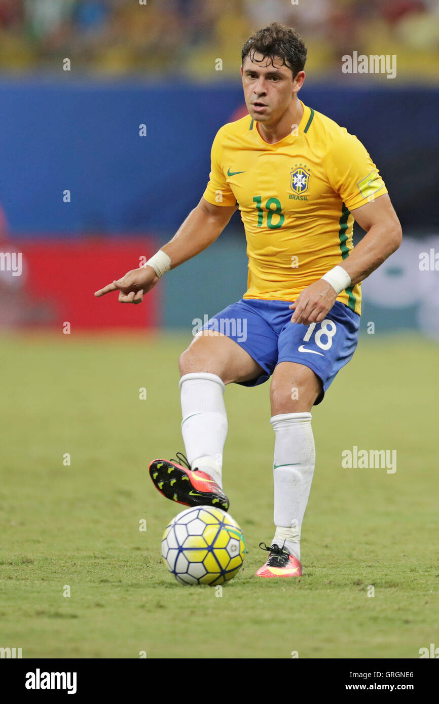 MANAUS, AM - 06.09.2016: BRAZIL VS COLOMBIA - Giuliano leads to attack on the ball during the match between Brazil - Stock Image