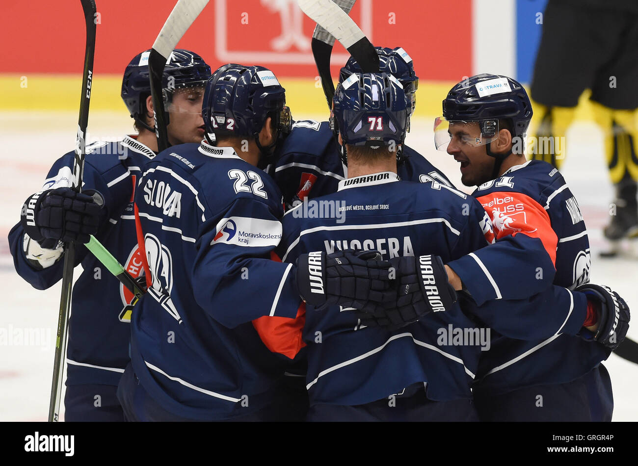Ostrava, Czech Republic. 07th Sep, 2016. Vitkovice players celebrate during the Champions Ice Hockey League, group Stock Photo