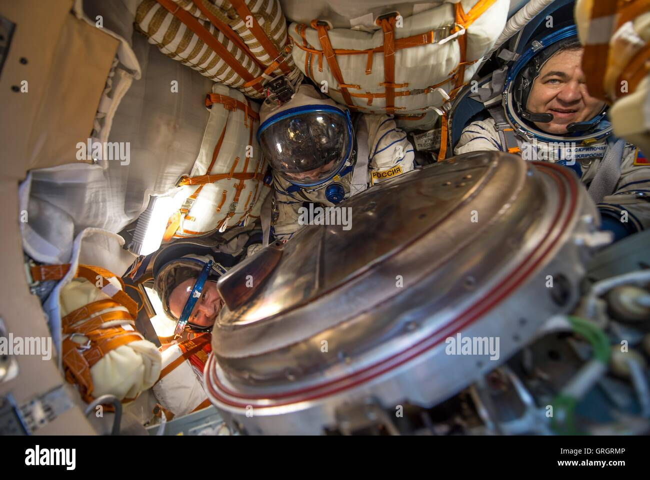 A look inside the Soyuz TMA-20M spacecraft after the hatch was opened with International Space Station Expedition - Stock Image