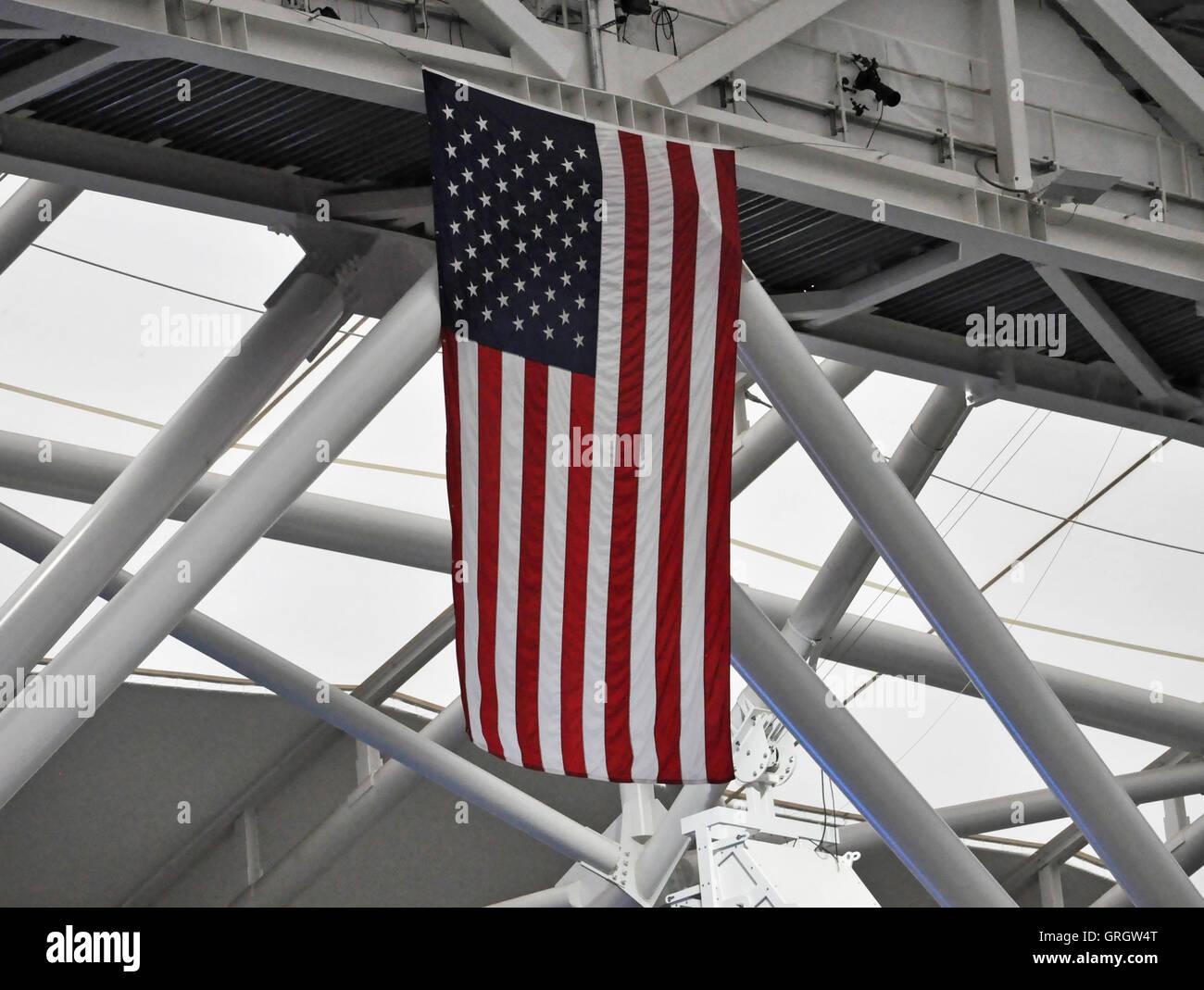 Flushing Meadows, New York. September 6, 2016. The US open flag hangs above Arthur Ashe stadium. Credit:  Veronica - Stock Image
