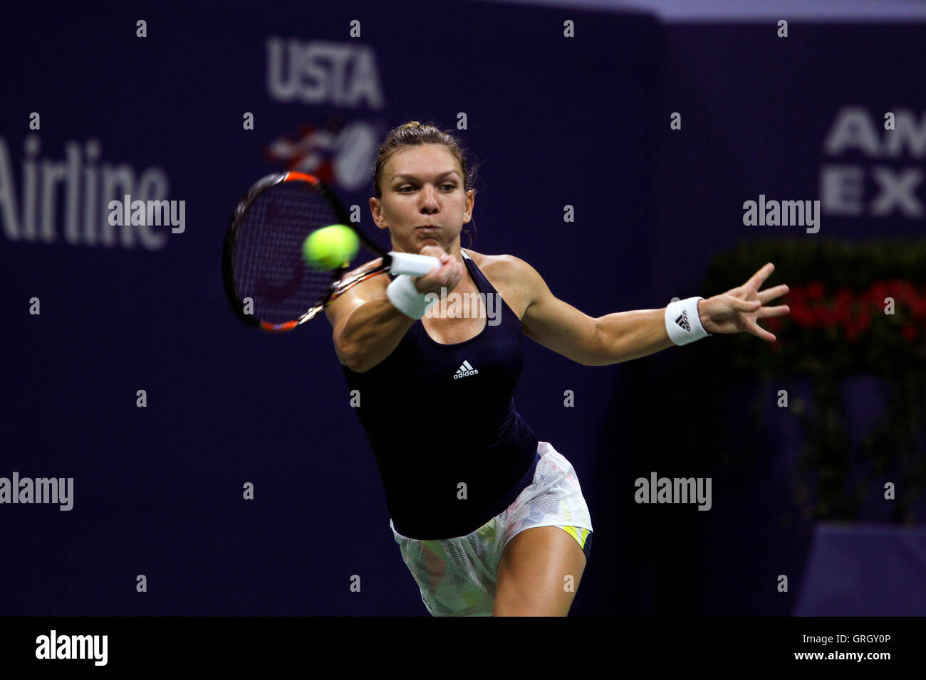 Flushing Meadows, New York, USA. 7th September, 2016. Simona Halep of Romania during her quarter final match against - Stock Image