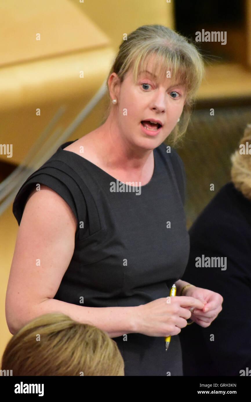 Edinburgh, Scotland, United Kingdom, 08, September, 2016. Health Secretary Shona Robison speaking during question Stock Photo