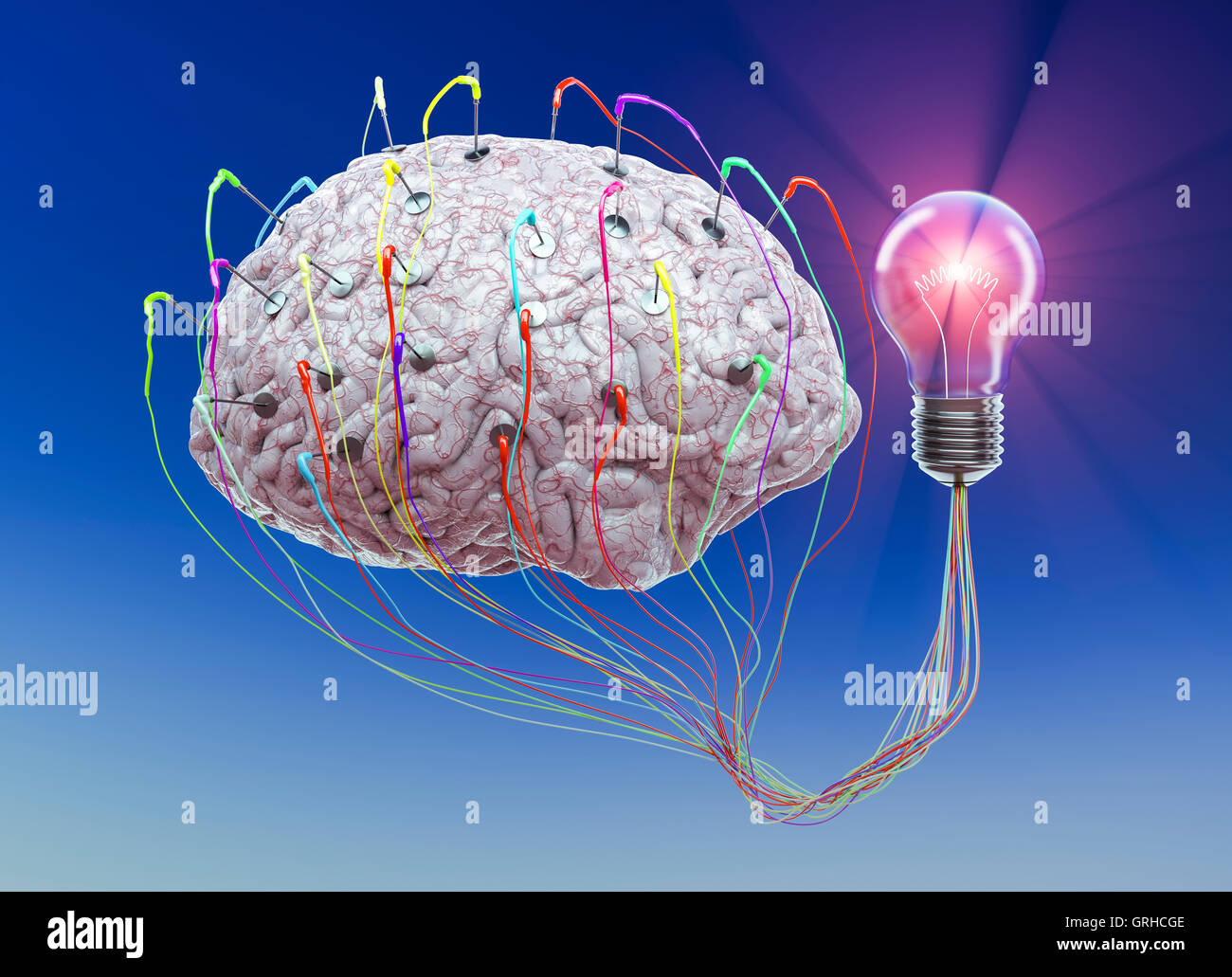 A human brain is wired up to a light bulb to show the concept of ideas - Stock Image