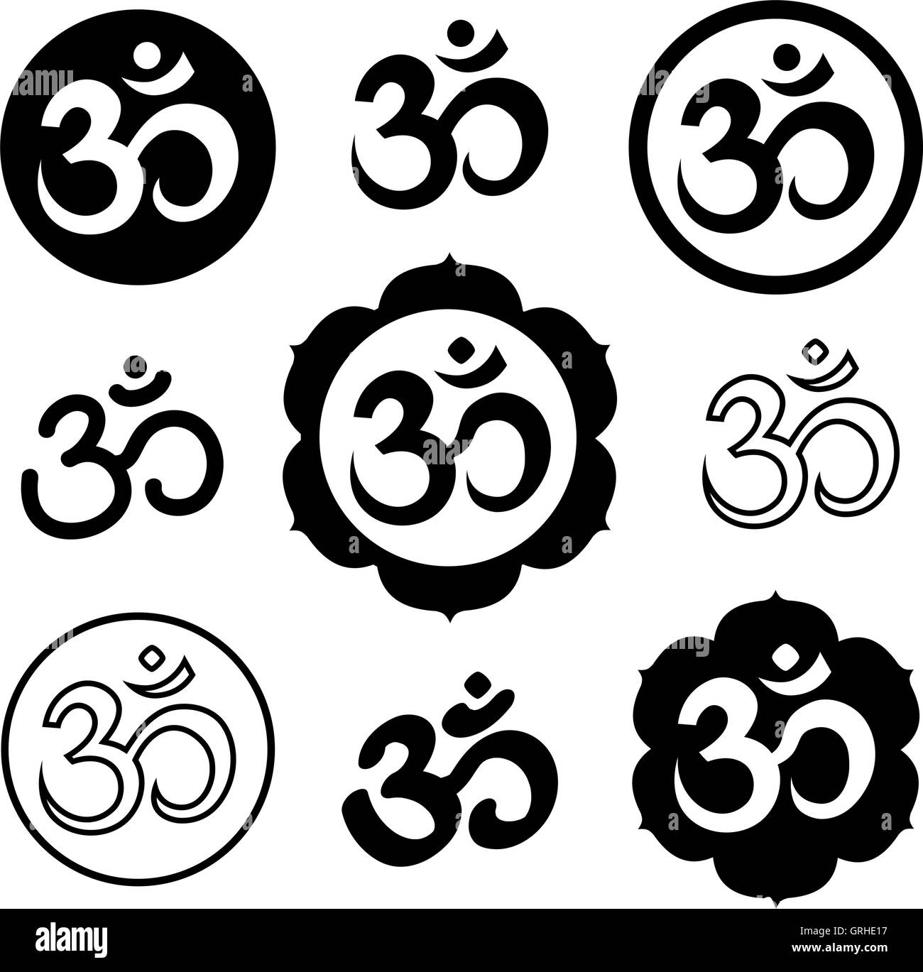 Set of Om, or Aum signs isolated on white background. - Stock Image