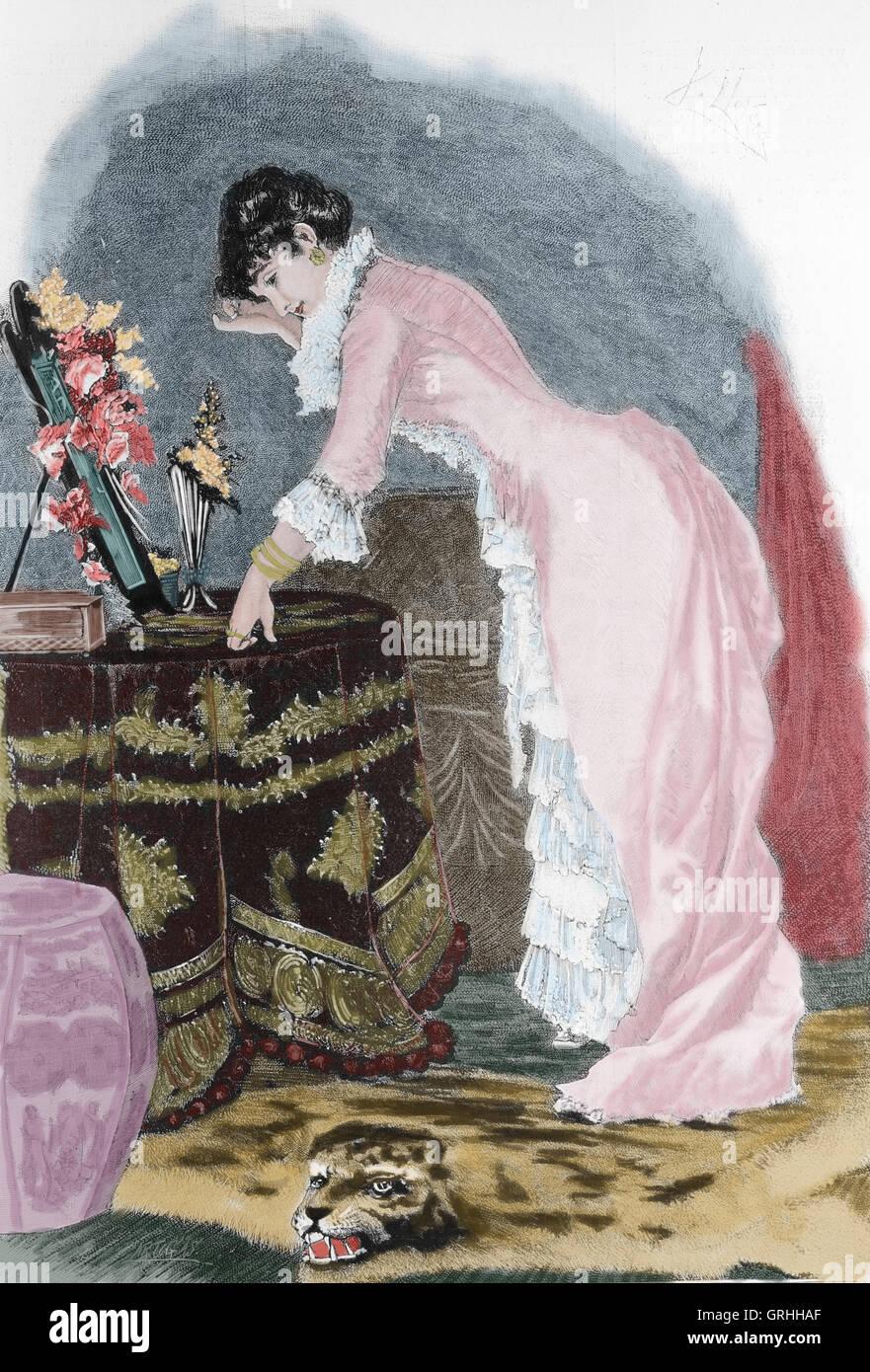 Bourgeois woman. Engraving by Artigas. La Ilustracion Artistica, 1885, Spain.1885. - Stock Image