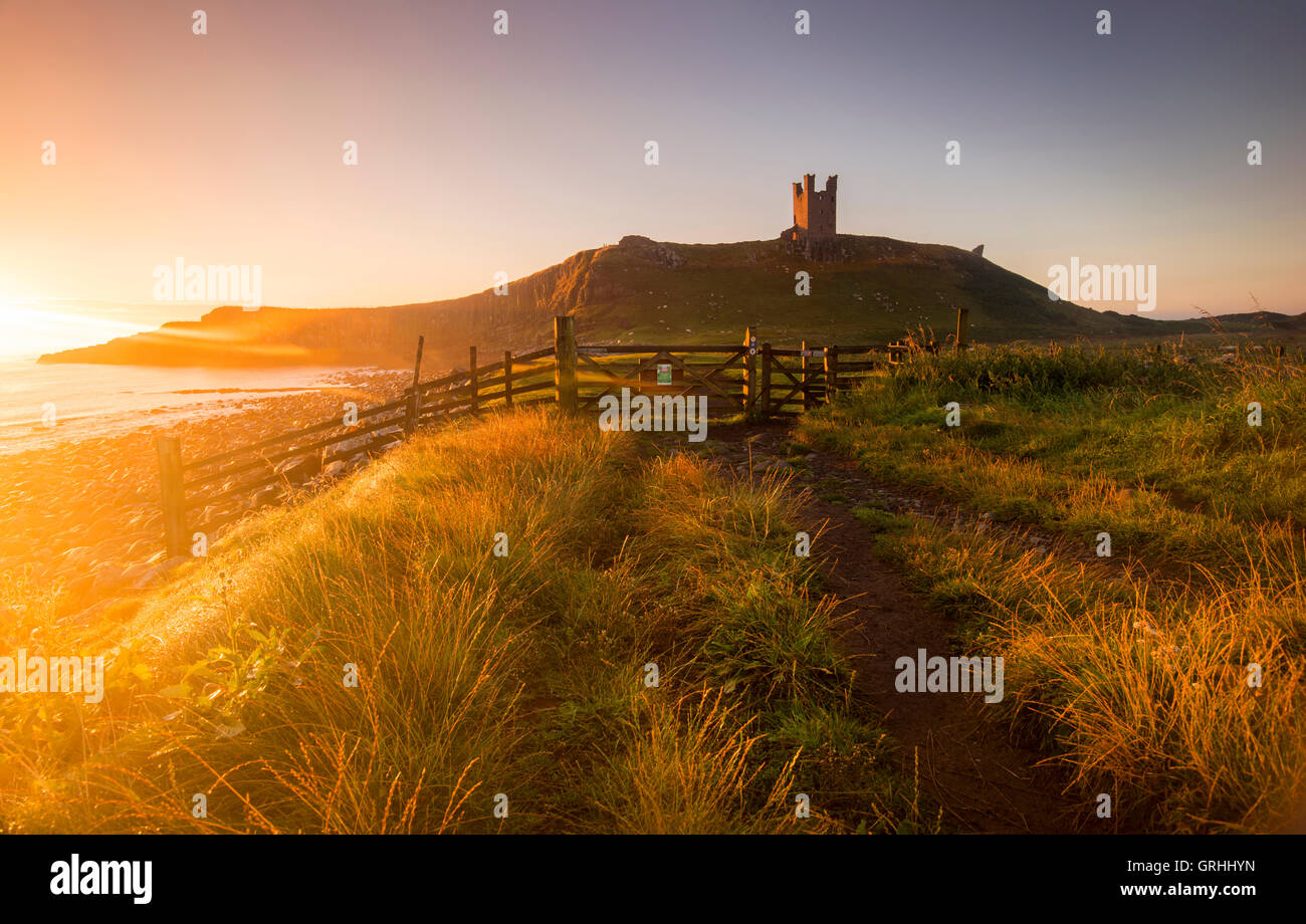 Golden dawn light at the ruins of Dunstanburgh Castle on the coast of Northumberland, England UK - Stock Image