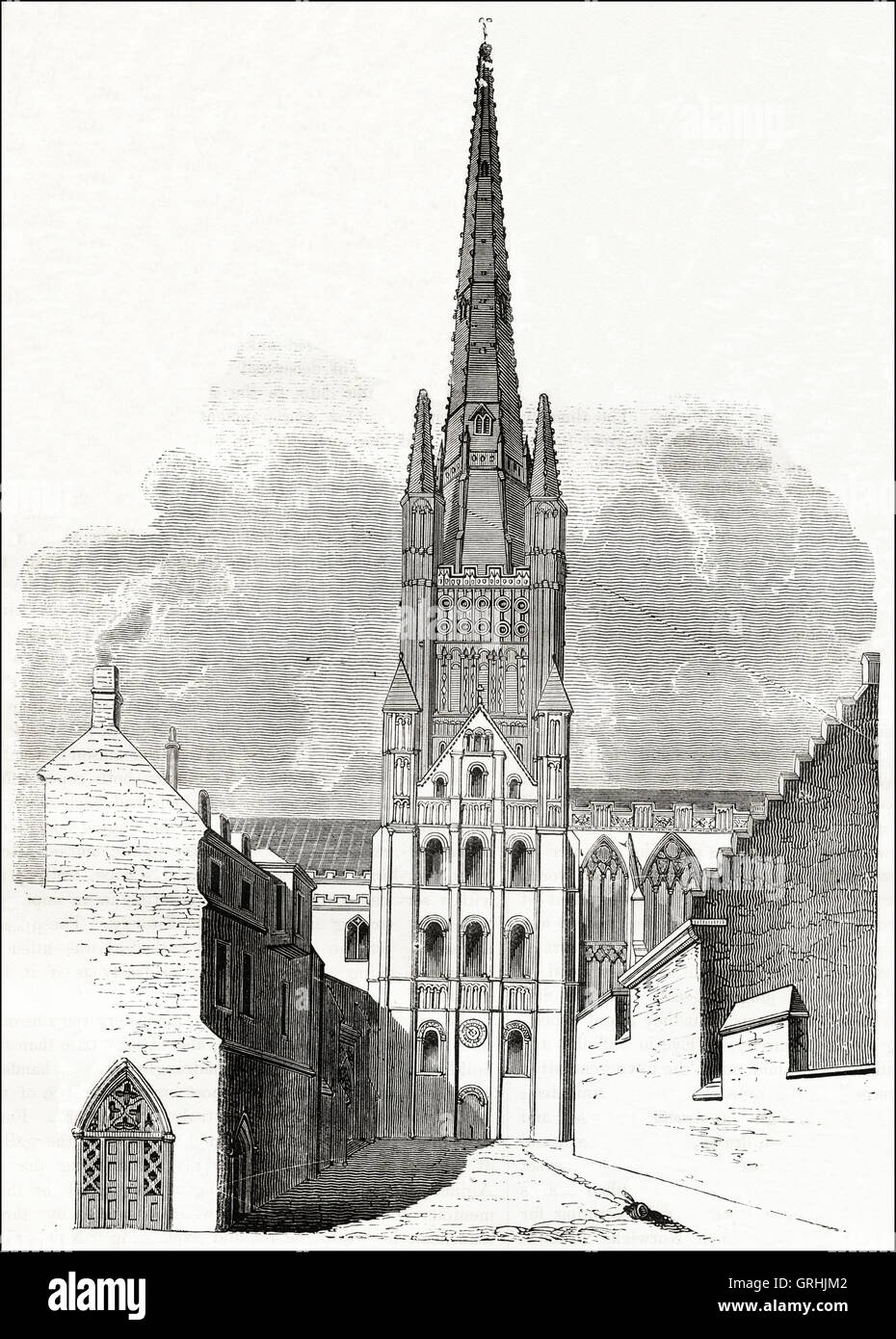 Norwich Cathedral 12th century begun in 1096 & completed in 1145. Victorian woodcut engraving circa 1845. - Stock Image