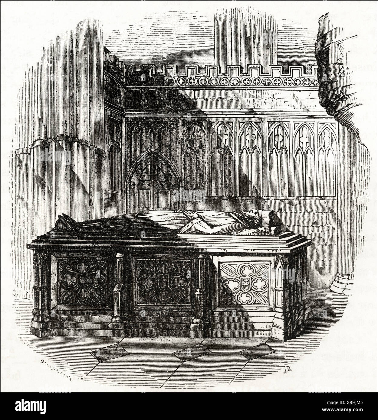 Tomb of King John in Worcester Cathedral. Victorian woodcut engraving circa 1845. - Stock Image