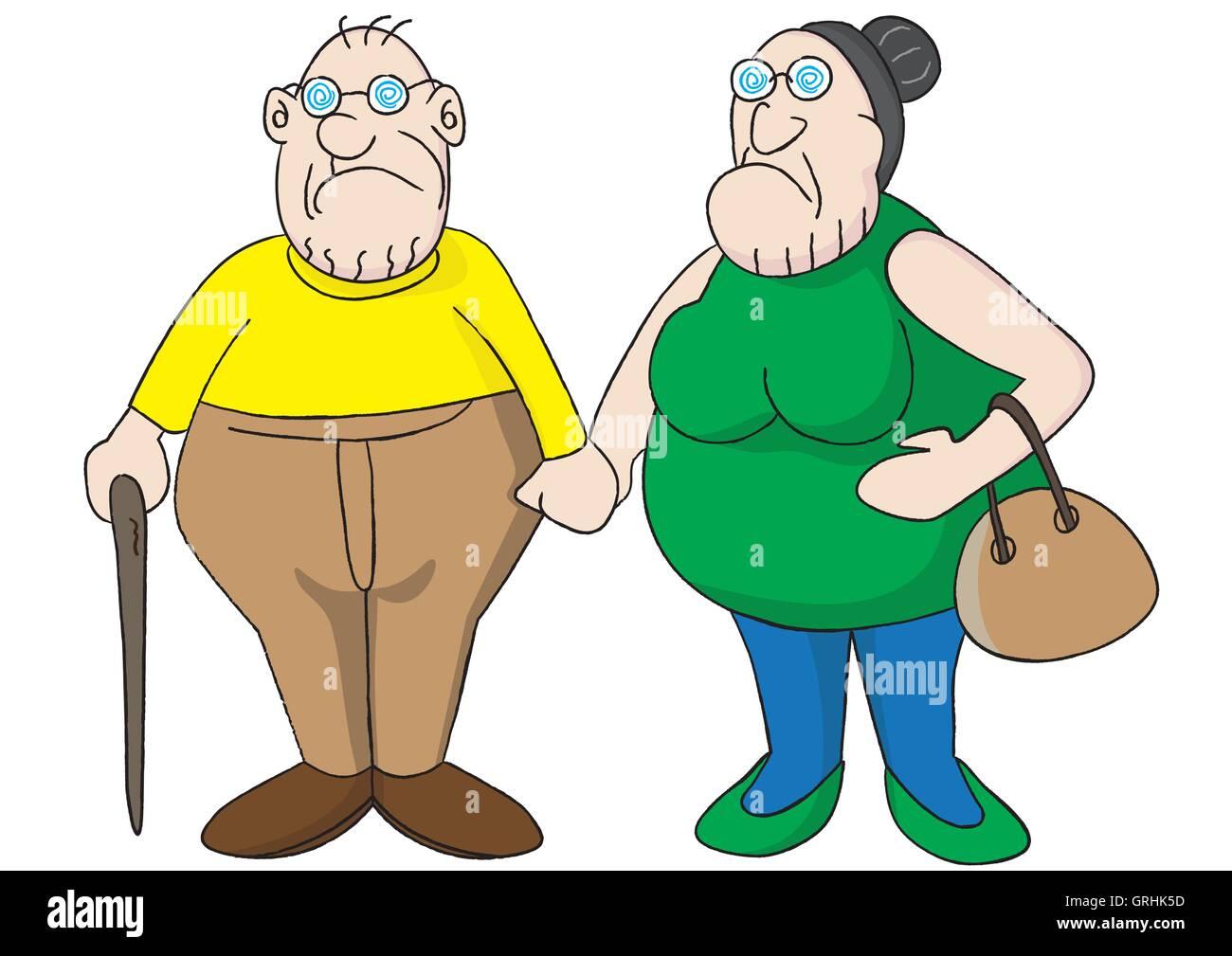 loving elderly senior couple - Stock Vector